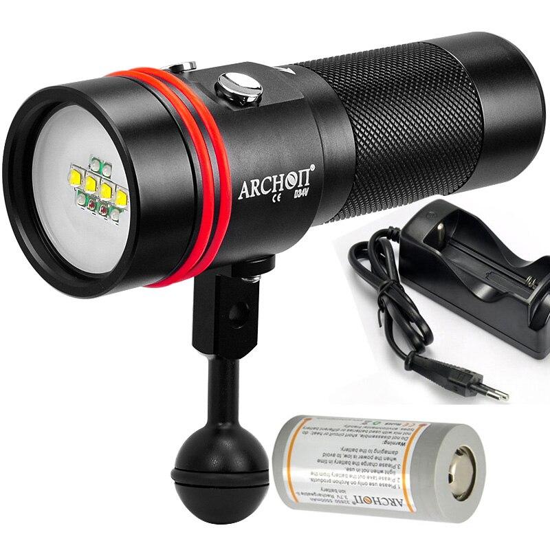 ARCHON W40V D34V vidéo lumière sous photographie la lumière UV ROUGE lumière torche 2600LM 100 mètre étanche + 32650 batterie + chargeur