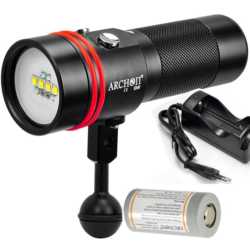 ARCONTE W40V D34V video luce sotto photography luce UV luce ROSSA della torcia 2600LM 100 metro impermeabile + 32650 batteria + caricatore
