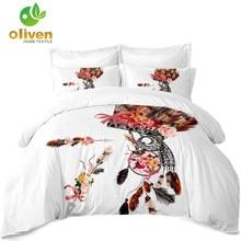 Bohemia Owl Bedding Set Floral Dreamcatcher Print Duvet Cover Set King Queen Bedding Cover Pillowcase Home Decor A20 floral print bedding set