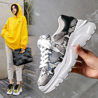 Flat shoes, muffin bottom, sneakers, snakeskin, casual platform shoes, round head, leather, comfortable shoes