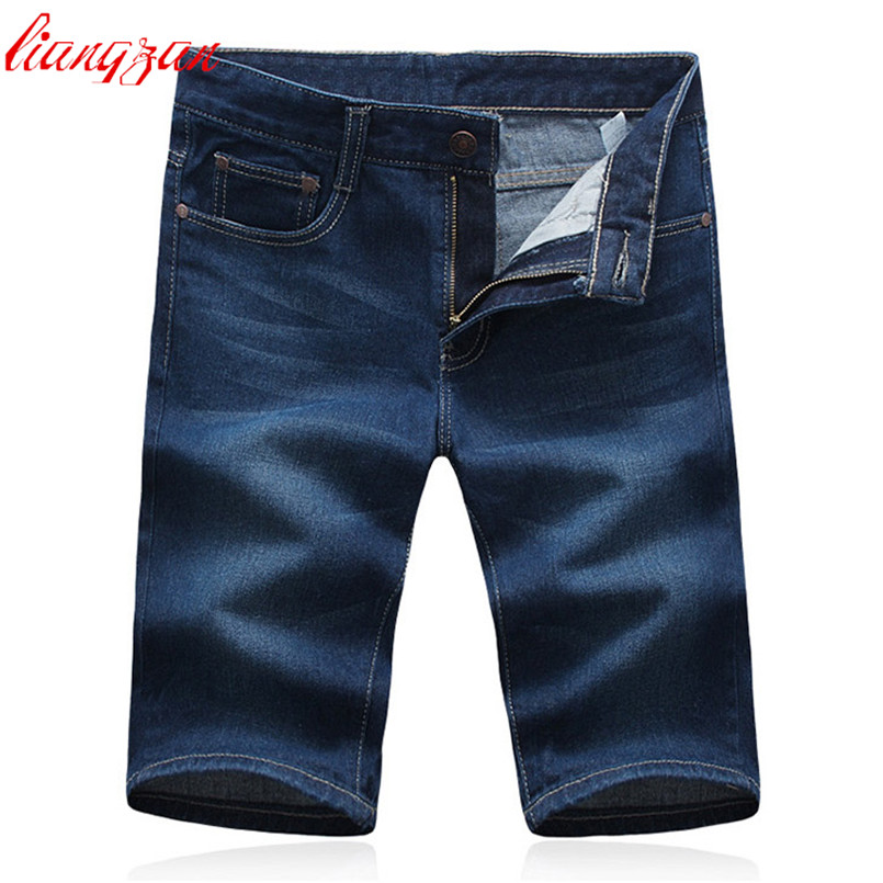 Men Summer Straight Denim Shorts Brand Large Size 28-42 Slim Fit Cotton Jeans Male Casual Thin Blue Jeans Masculino F2164