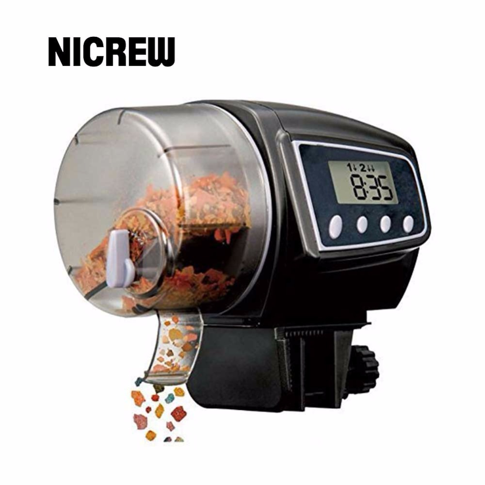 Nicrew 100mL Digital Automatic Fish Feeder Aquarium Tank Pond Auto Fish Food Timer Feeder Up to 4 per day