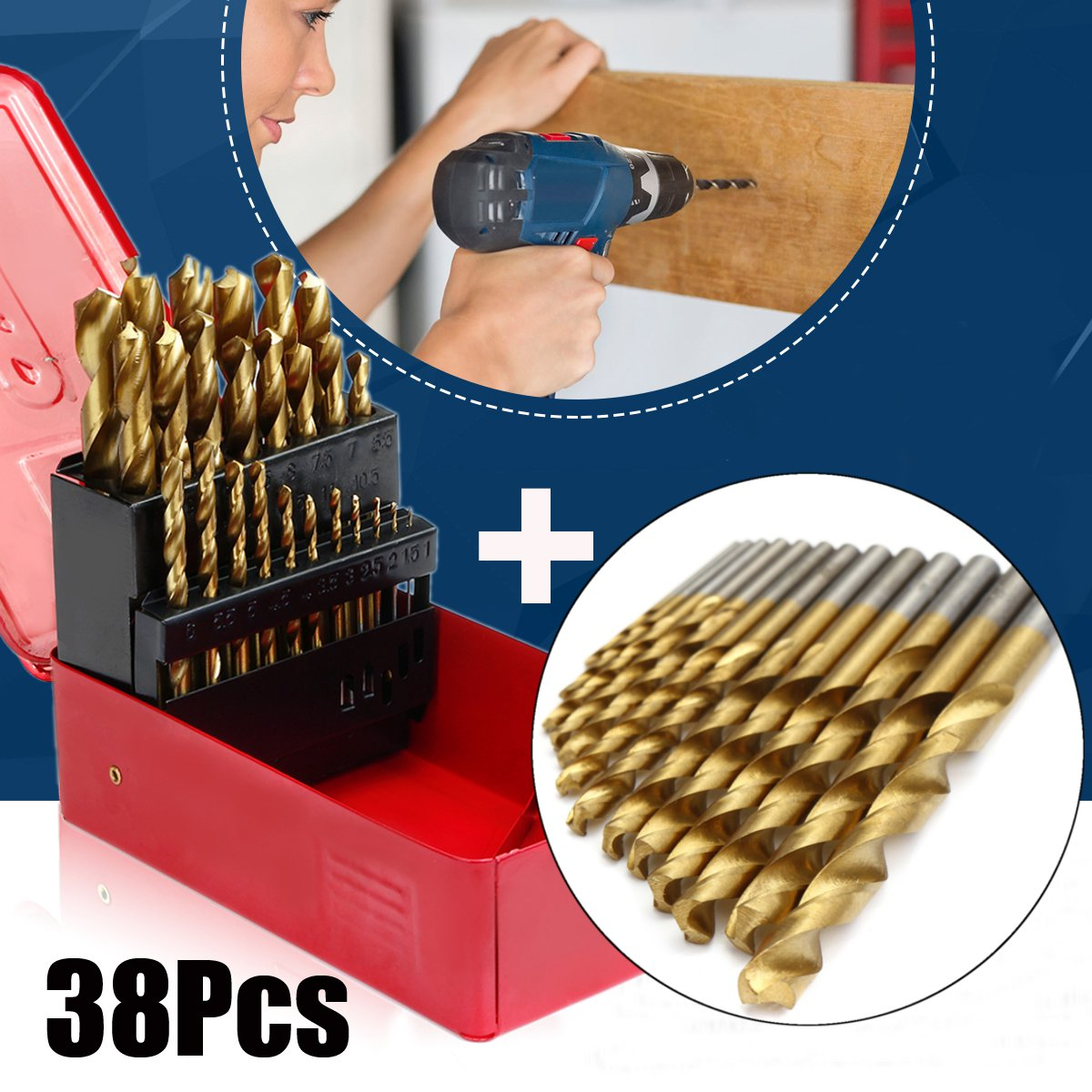 цена на 38Pcs Titanium Coated Drill Bits HSS High Speed Steel Drill Bits Set Tool High Quality Power Tools 1-13mm