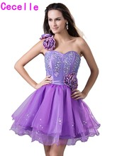 Cute Purple Short Juniors Homecoming Dresses 2017 One Shoulder Beaded  Flowers Informal Teens Party Dresses Fast · 2 Colors Available fe672c9c7404