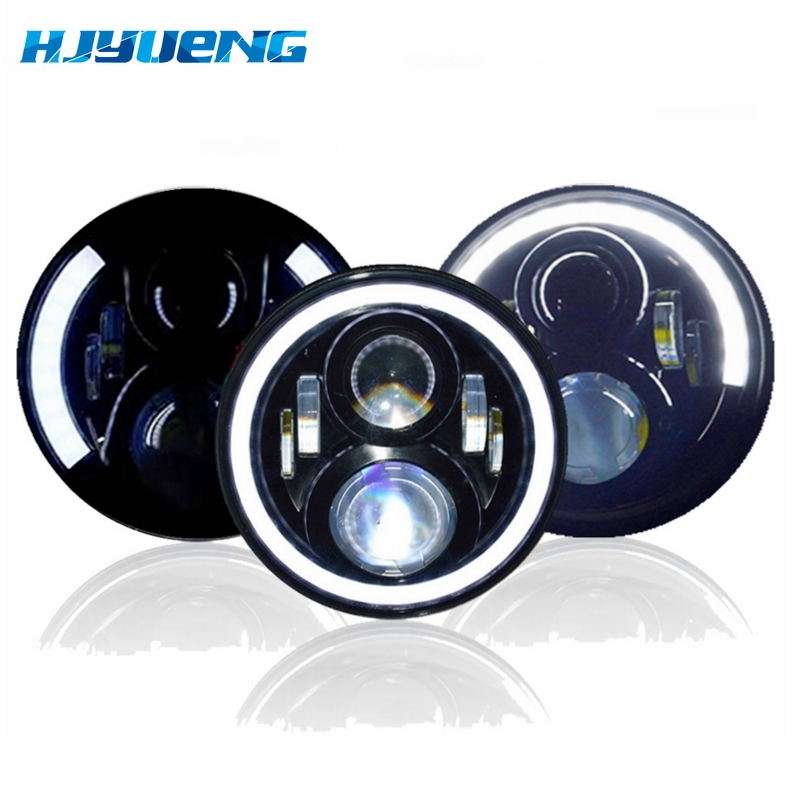 7 inch LED Headlight Car Angel Eyes DRL Daytime Running Lights for Yamaha Jeep Wrangler Headlamp Car Motorcycle Accessories