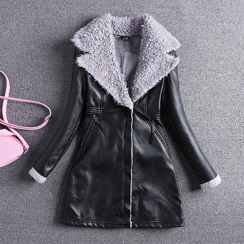 2018 Chaquetas De Cuero Mujer   Leather   Jacket Women 2xl Women New Lamb Coat Long Turn Down Collar Full Sleeve Pu Grey Jackets