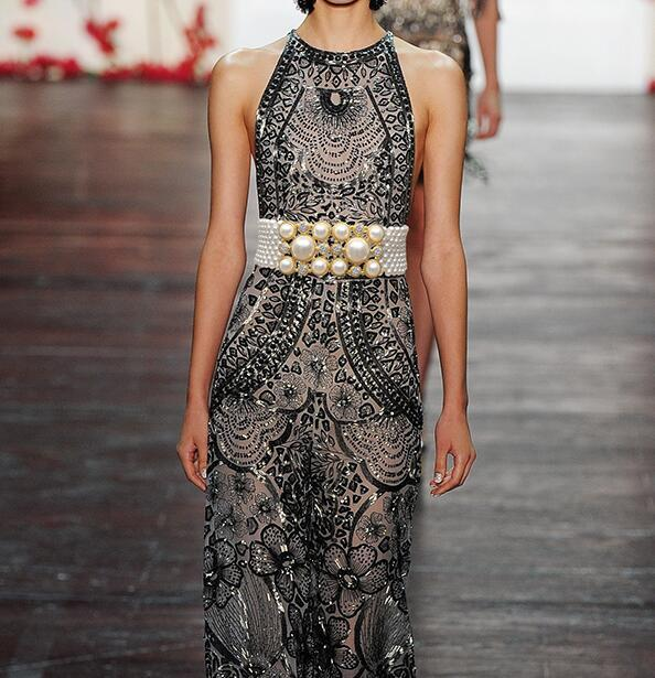 Women s runway fashion elastic diamonds pearl Cummerbunds female Dress Corsets Waistband Belts decoration wide belt R1469