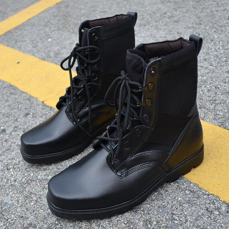 Men designer black army jungle tactical combat boots ski shoes ...