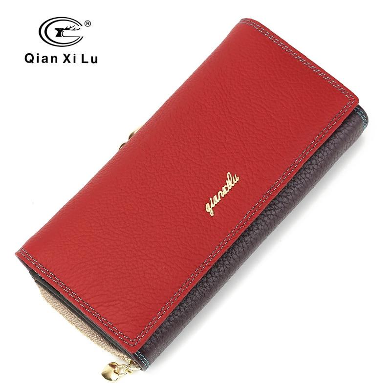 982c0522619b079 Купить Модный бренд кожа для женщин телефон женские кошельки Высокое  качество молнии и Hasp портмоне женский длинный держатель для карт леди  повсед.