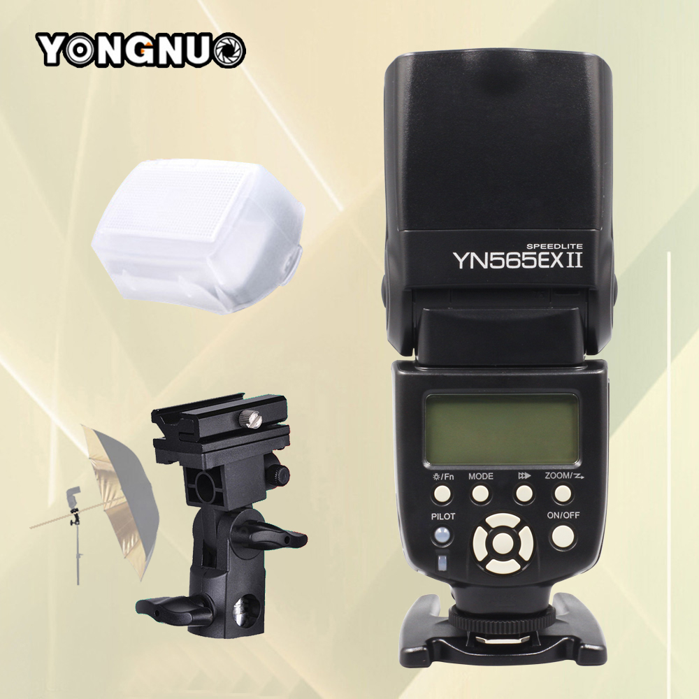 Yongnuo YN565EX II YN-565EX II Wireless TTL Flash Speedlite For Canon 500D 550D 600D 1000D 1100D 5D3 6D 7D DSLR Camera & Bracket 3pcs yongnuo yn600ex rt auto ttl hss flash speedlite yn e3 rt controller for canon 5d3 5d2 7d mark ii 6d 70d 60d