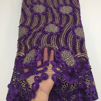 BEAUTIFICAL purple embroidery fabric with rhinestones nigerian lace fabric wedding lace fabric  ML25N132