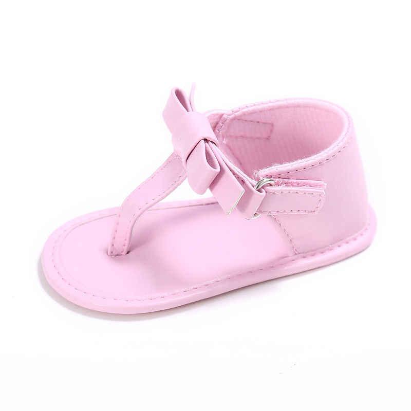 2019 letnie buty dziecięce ze skóry eko niemowlę maluch chłopiec dziewczyny sandały Kid duża kokarda noworodka sandały niemowlęce stringi buty