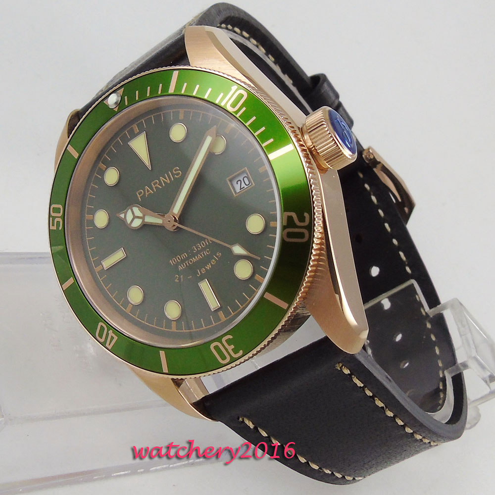 2018 New styles 41mm parnis Green dial Luminous Date window Sapphire Crystal 21 jewels MIYOTA Automatic Mechanical mens Watch2018 New styles 41mm parnis Green dial Luminous Date window Sapphire Crystal 21 jewels MIYOTA Automatic Mechanical mens Watch