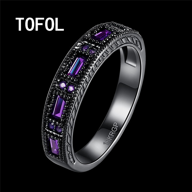 TOFOL Rings New Trendy Black Ring Men Women Zicon Rings Blue Green Purple Ring Finger Size