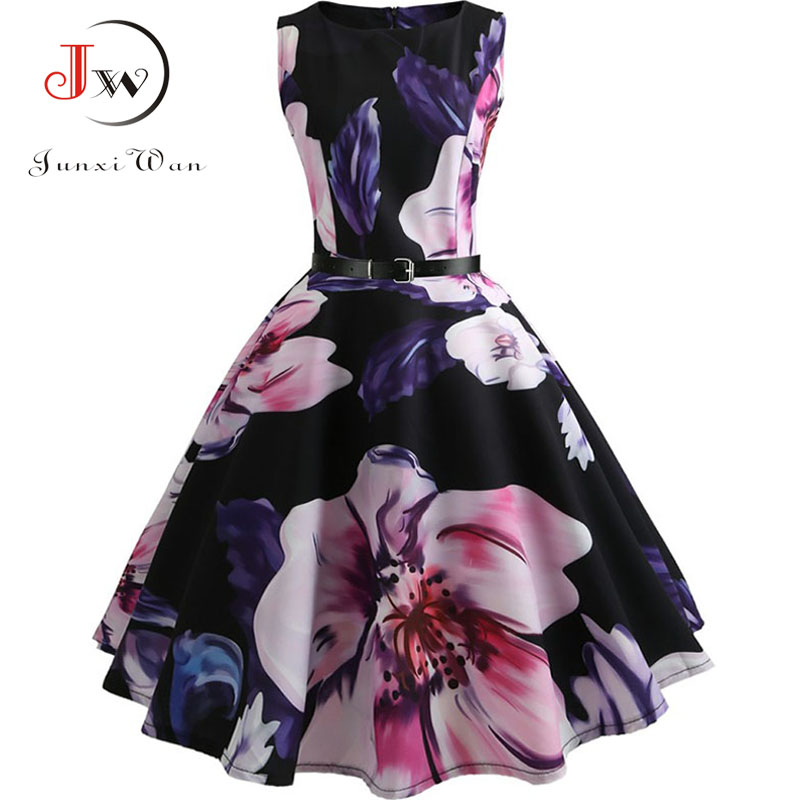 Women Summer Dress Floral Print Retro Vintage 1950s 60s Casual Party Office Robe Rockabilly Dresses Plus Size Vestido Mujer 5