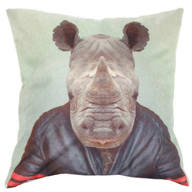 1 шт. человек, одетый большой носорог голову подушку Чехол Главная Наклейка спрятана молнии Дело наволочка Доставка Распродажа