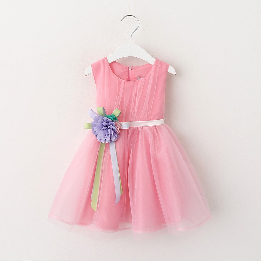 VIMIKID 17 New Girls tutu dress + belt flowers gauze children princess vest dress Girls lace dress kids clothes pink purple 9