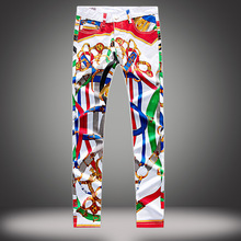 2017 new fashion famous brand jeans printed slim casual for mens pants male elastic boy graffit white denim trousers street wear