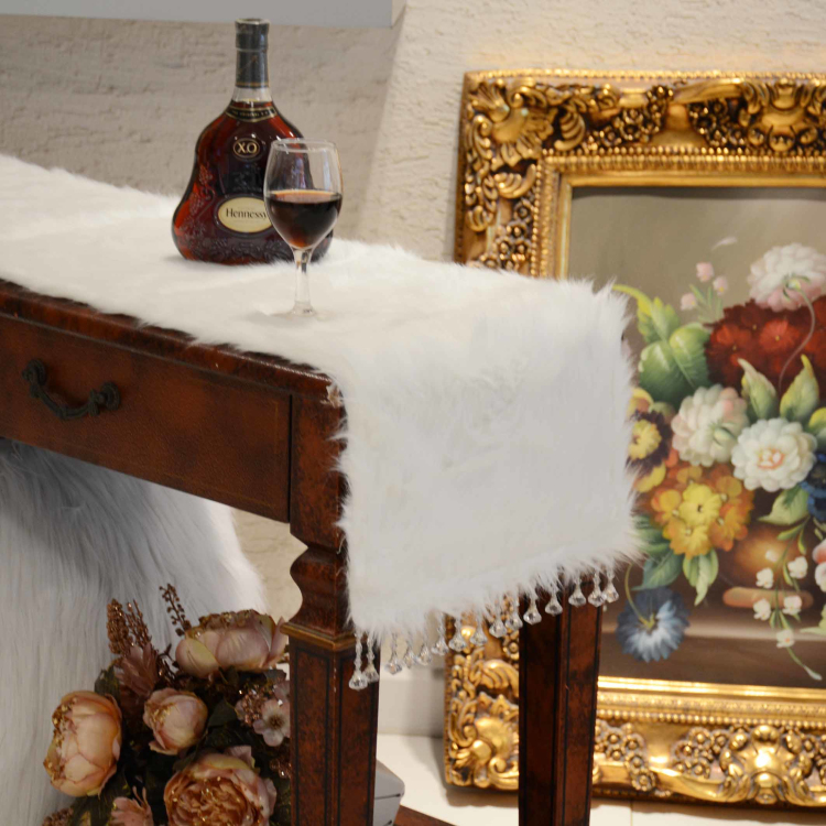 32 180cm 32 210cm European luxury Runner white plush bed table runner ornament thread embroidery with