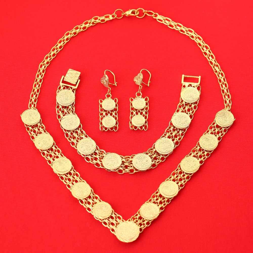 האתיופית סיטונאי תכשיטי סט תכשיטים בצבע זהב דובאי לנשים סט תכשיטי מטבע מטבע עתיק ערבי