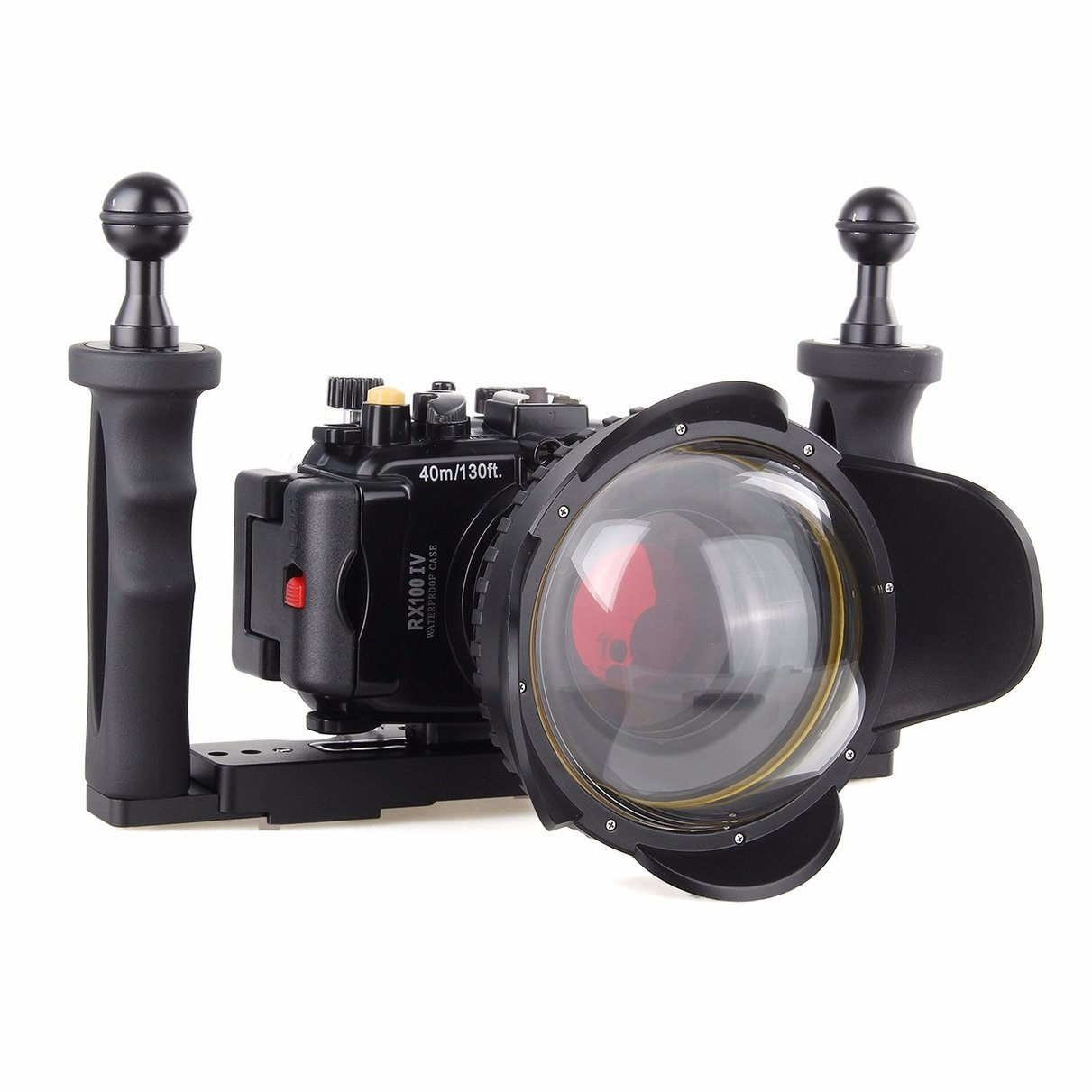 40M Underwater Waterproof Camera Housing Diving Case for Sony RX100 IV M4 + Red Filter + Fisheye Lens + Two Hands Aluminium Tray 40m 130ft waterproof underwater camera diving housing case aluminum handle for sony a7 a7r a7s 28 70mm lens camera