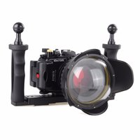 40M Underwater Waterproof Camera Housing Diving Case for Sony RX100 IV M4 + Red Filter + Fisheye Lens + Two Hands Aluminium Tray