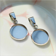 Stainless Steel Pendant Blanks Cabochon Base Setting with Pinch Bail Clip fit 6/8/10/12/14/16/18/20/25mm DIY Cabochon Cameo