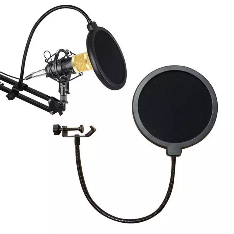 15cm Microphone Pop Filter Double Layer Mic Pop With Swivel Mount 360 Flexible Holder For Blue Yeti Microphone Recording