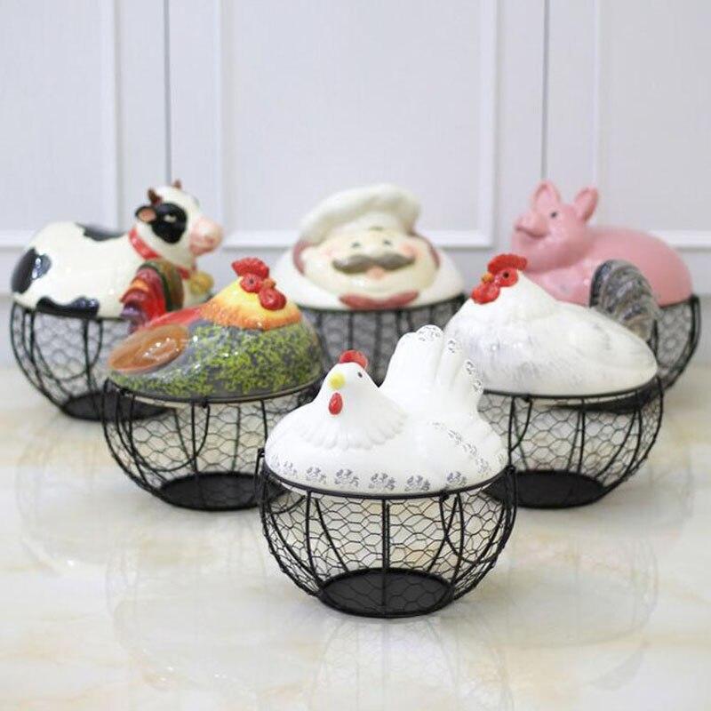 Kitchen Garden Box With Wire Top: Creative Ceramic Egg Holder Chicken Wire Basket Fruit