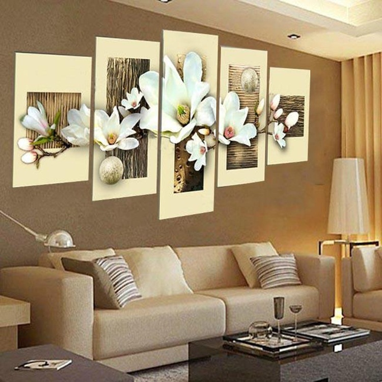 Hand Painted Oil Wall Art Purple Flowers Water Side Home