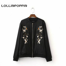 Women Plum Blossom Bomber Jacket Flowers & Birds Embroidery Baseball Jacket Ladies Floral Casual Loose Coat Free Shipping
