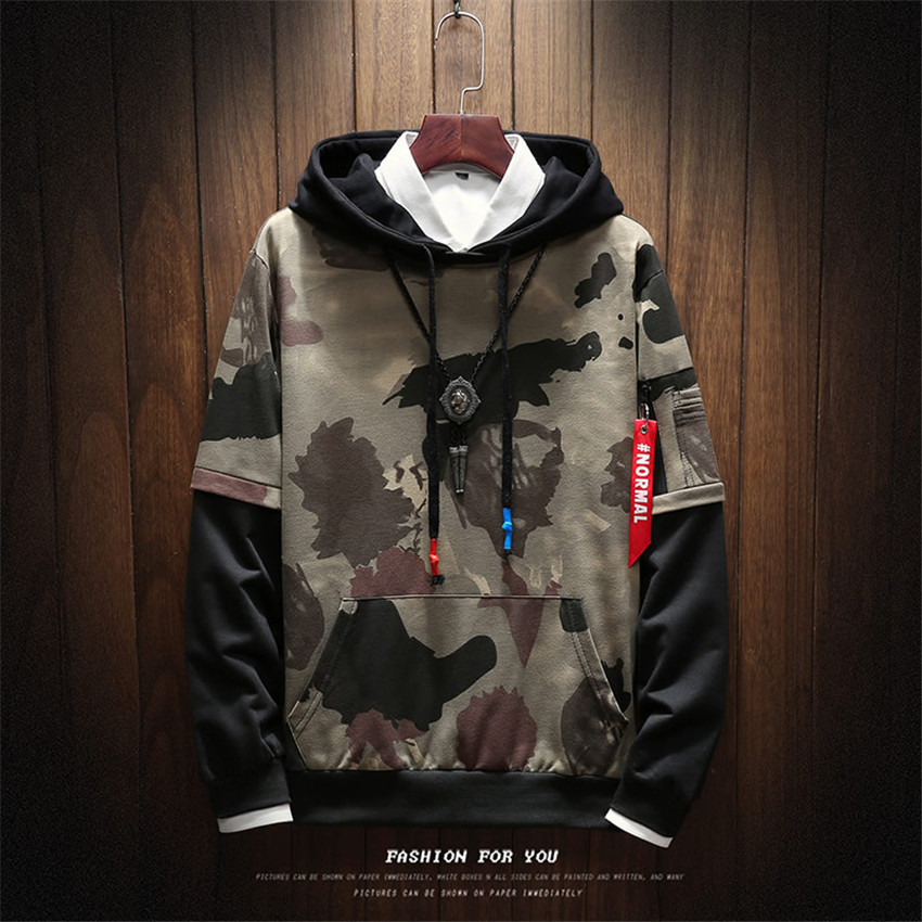 Men Hoodie Camouflage Long-Sleeve Printing Autumn Winter Fashion-Brand Casual Two Warm