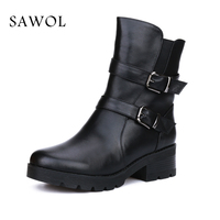 Genuine Leather Women Winter Shoes Women Natural Wool Boots Brand Women Shoes High Quality Mid Calf Boots With Platform Sawol