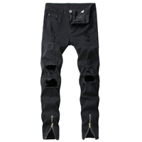 2019 Fashion hot Casual men's hole repair elastic slim feet zipper stretch feet denim Personality wrinkles jeans