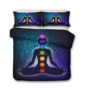 Image 2 - Bộ chăn ga gối 3D In Hình Túi Đựng Chăn Màn Bộ Giường Ngủ Tập Yoga 7 Luân Xa Phật Nhà Dệt May cho Người Lớn Bộ Chăn Ga Gối bọc Áo Gối # YJ04
