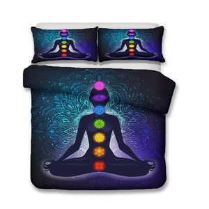 Image 2 - Bedding Set 3D Printed Duvet Cover Bed Set Yoga Seven Chakras Buddha Home Textiles for Adults Bedclothes with Pillowcase #YJ04