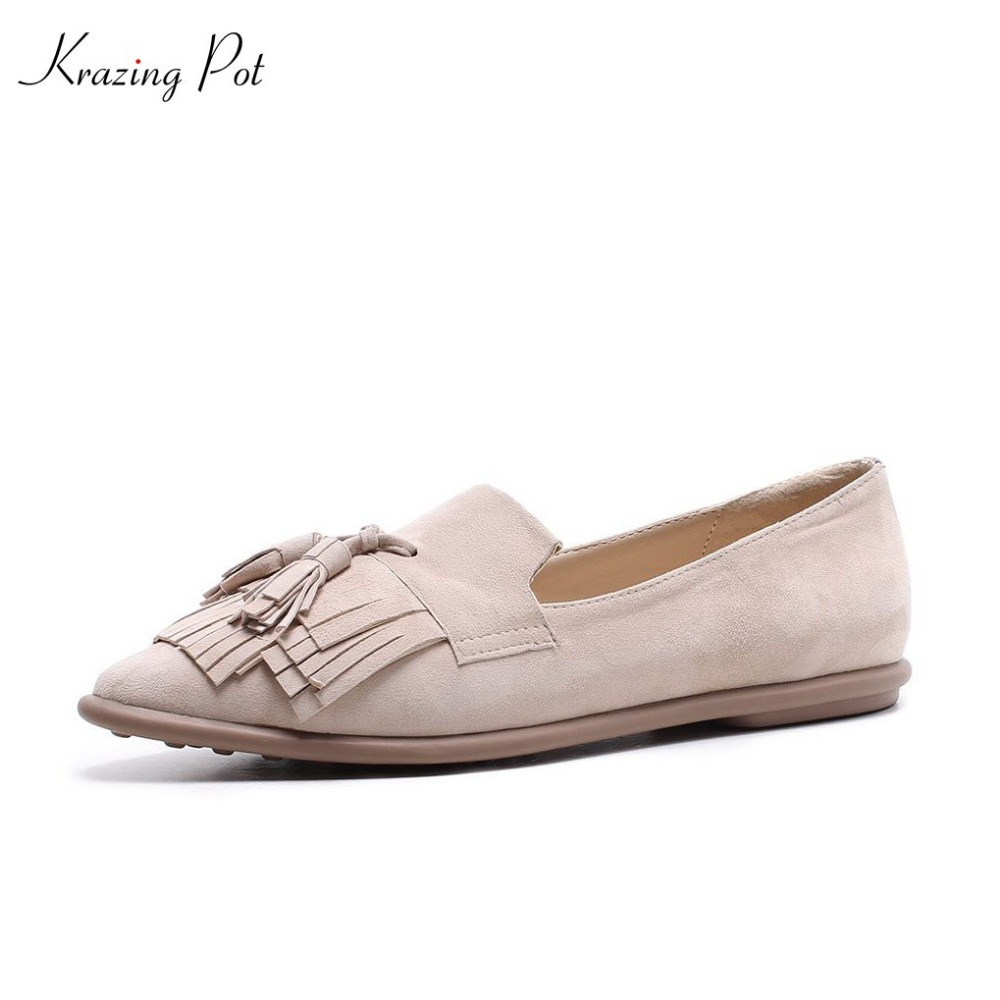 Krazing pot sheep suded shallow superstar casual pointed toe flats slip on European girl sweet women pregnant fringe shoes L8f3 pu pointed toe flats with eyelet strap