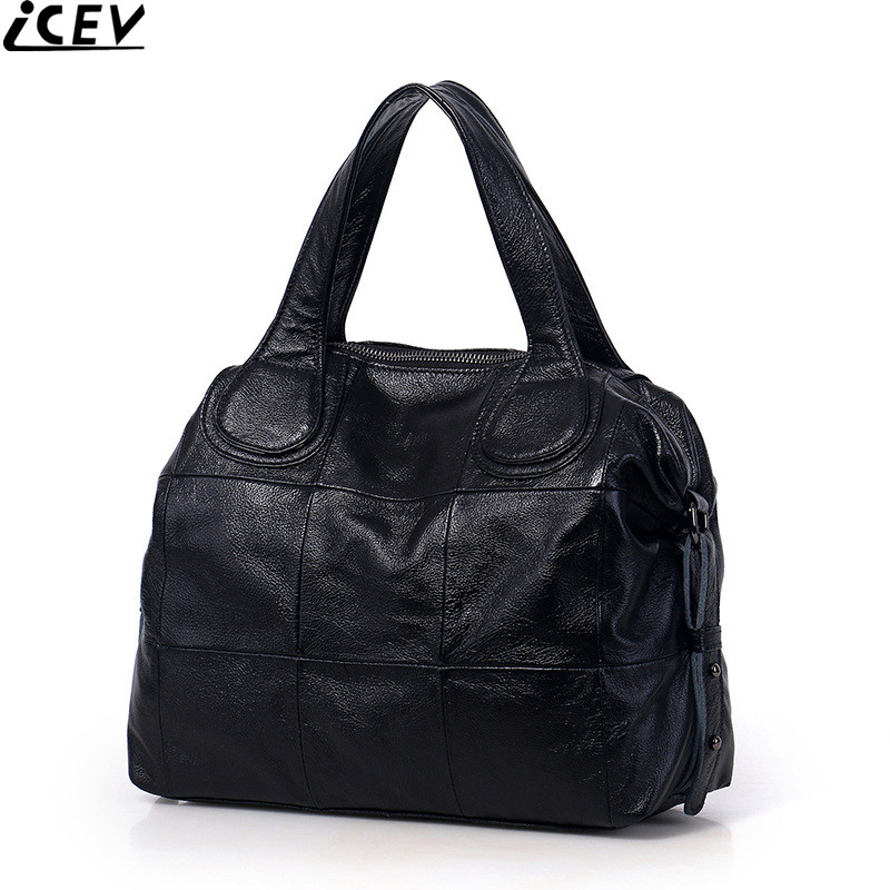 ICEV 100% cowhide handbag large capacity casual female big tote genuine leather messenger bags handbags women famous brands sac chispaulo women genuine leather handbags cowhide patent famous brands designer handbags high quality tote bag bolsa tassel c165