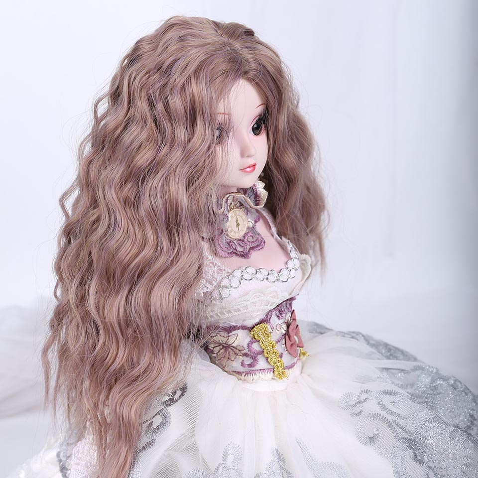 Allaosify Silver gray Bob long Straight and curly Bangs 1/3 1/4 BJD Wigs High Temperature Fiber for Dolls hair free shipping