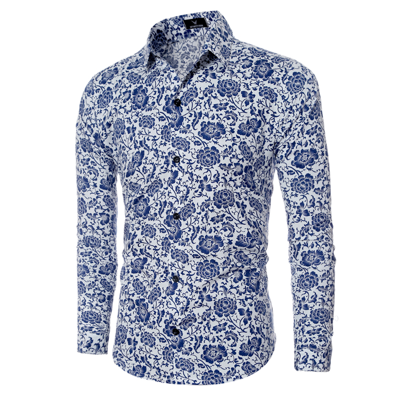 Wedding White Or Blue Shirt: Tuxedo Dress Shirts Floral Printed Male Clothes 2016 New