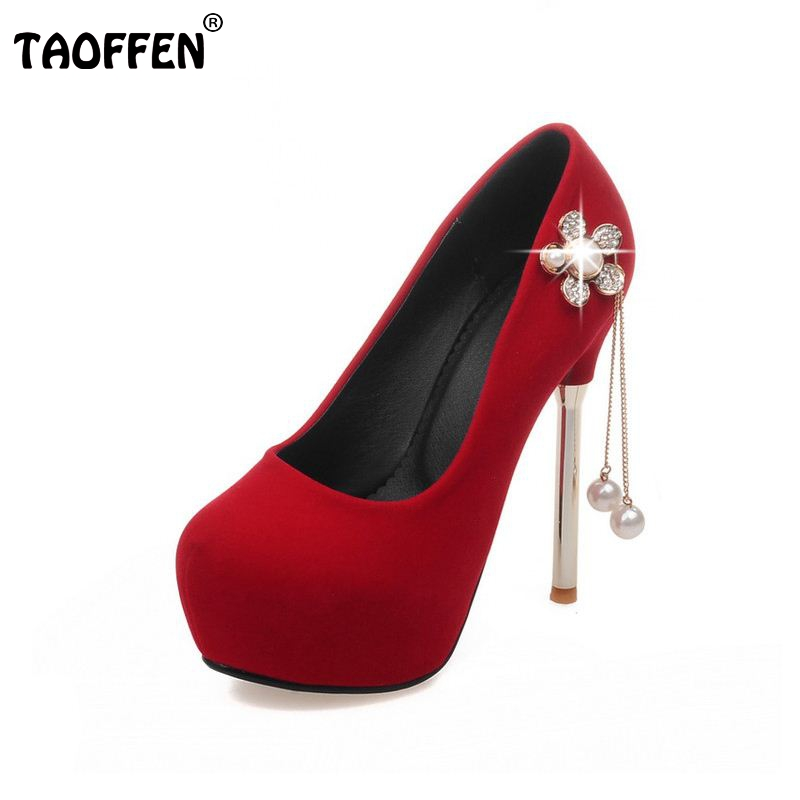women round toe high heel shoes lady platform footwear heeled appliques sexy wedding pumps heels heeled shoes size 33-42 PA00001 taoffen women high heels shoes women thin heeled pumps round toe shoes women platform weeding party sexy footwear size 34 39