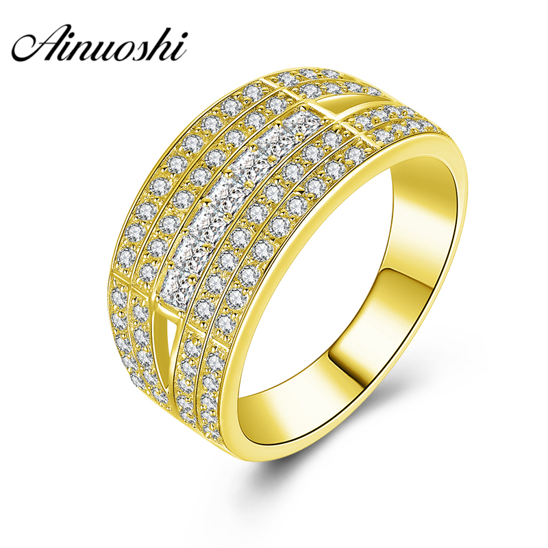 AINUOSHI 10K Solid Yellow Gold Men Ring Shinning Rows Drill Cluster Ring Wedding Engagement Gold Jewelry 6.5g Wide Wedding Band цена и фото