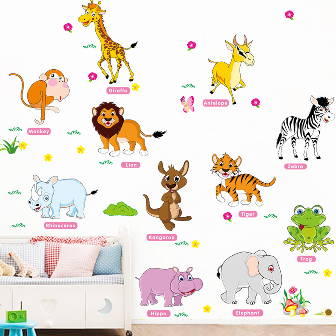Hot Adventure Animals Wall Stickers for Kids Nursery Rooms Baby Home Decor Poster Wall Decals Wallpaper