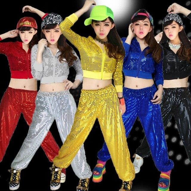 27f5ada2c5015 Trajes de baile moderno jazz danza hip-hop Ropa de baile lentejuelas  adultos realizando servicio