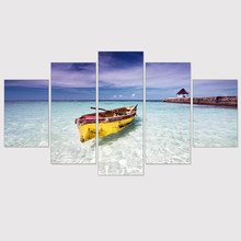 Canvas Painting Blue Ocean Yellow Boat Seascape Paint Picture Wall Art Poster Seaview Print