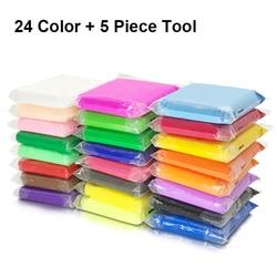 24 colores/juego de arcilla ligera aire seco polímero plastilina modelado arcilla Super luz DIY suave creativo manualidades arcilla educativa juguetes