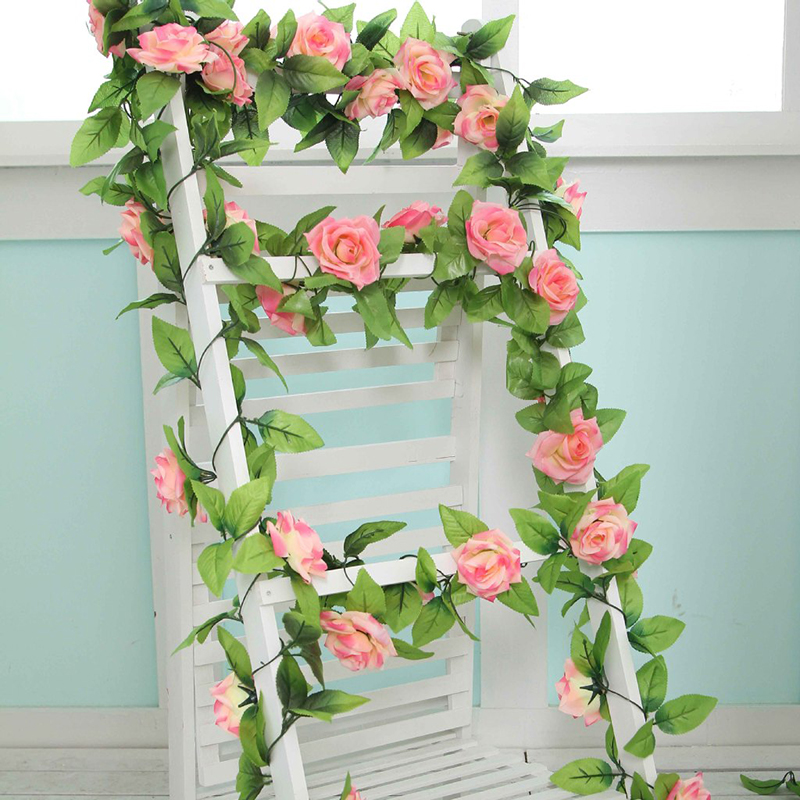 240 centimetri fiori artificiali Vine Home Wedding Garden Decoration Rose fiori finti Rattan String Festival Hanging fiore di seta TSLM1