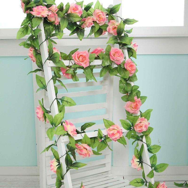 240 cm Bunga Buatan Vine Rumah Pernikahan Dekorasi Taman Rose Palsu Bunga Rotan Tali Festival Menggantung bunga Sutra TSLM1