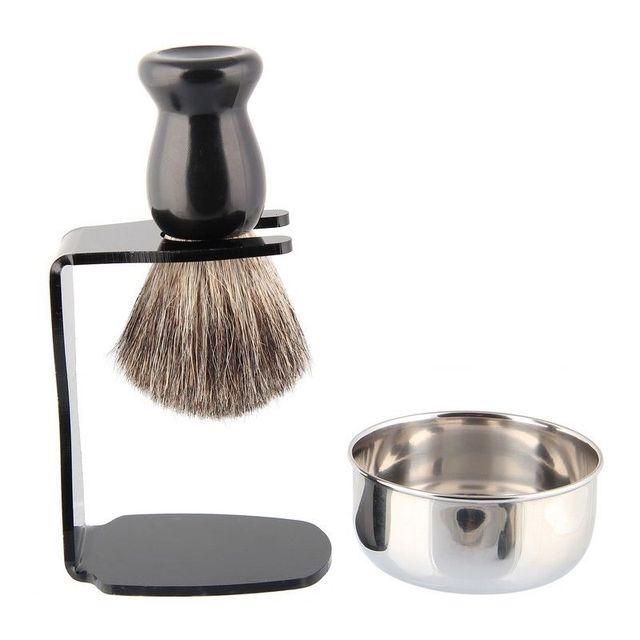 Men Shaving Sets Acrylic Razor Holder Stand + Shaving Badger Brush and Soap Bowl/Mug/Cup 3 In 1