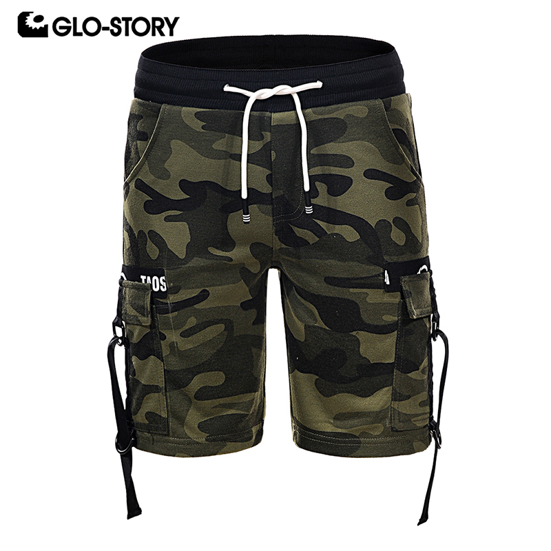 GLO-STORY Teens Kids Camouflage Military Cargo Shorts Boys Knitted Short Pants BRT-6057